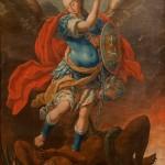 Arcàngel sant Miquel<br /> S. XVIII <br /> Pintura a l'oli sobre tela.<br /> 147 x 108<br /> Núm. Inv. 115<br /> Prové de la capella de sant Miquel de la Infermeria.