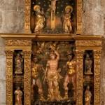Retaule de sant Sebastià<br /> S. XVI<br /> Fusta policromada.<br /> 220 x 145 x 23,5<br /> Núm. Inv. 107