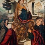 Sant Baldiri<br /> Atribuït a Joan de Borgonya.<br /> S. XVI<br /> Pintura sobre fusta.<br /> 79 x 62 x 7<br /> Núm. Inv. 420