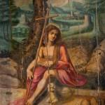 Pintures del retaule major del monestir<br /> S. XVI <br /> Pintura al tremp sobre fusta.<br /> Sant Joan jove al desert: 180 X 117<br /> Núm. Inv.102<br /> Retaule destruït parcialment durant la guerra del 1936-1939.<br /> Probablement vinculades amb el taller d'Antoni Peitaví.